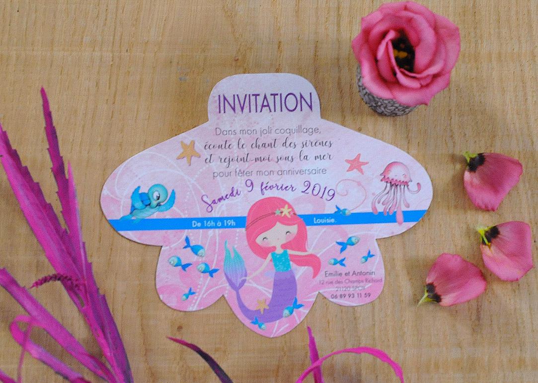 Carte anniversaire fille 4 ans en forme de coquillage - Thème Sirène - poissons - tortue - pieuvre