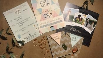 Faire-part recto-verso - Carte de remerciements - Sachets cadeau invités de smarties