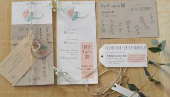 Faire-part - Baseline avec prénoms - papier recyclé