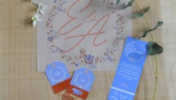 Identité visuelle avec initiales - carte témoin - carte à gratter plan de table